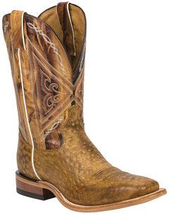 Tony Lama Tan Reverse Quill Print Americana Cowboy Boots - Square Toe , , hi-res