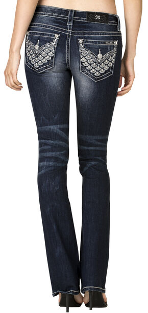 Miss Me Women's Dark Wash Embellished Back Flap Bootcut Jeans , Blue, hi-res