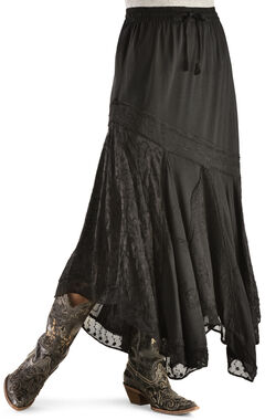 Scully Diagonal Embroidered Long Skirt, Black, hi-res