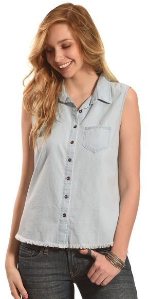 Derek Heart Women's Sleeveless Denim Button Down Shirt - Plus Size, Light Blue, hi-res