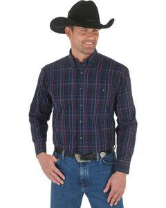 Wrangler George Strait Black & Red Plaid Western Shirt, , hi-res