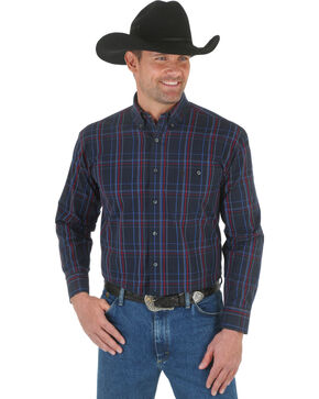Wrangler George Strait Black & Red Plaid Western Shirt, Black, hi-res