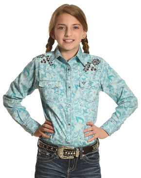 Cowboy Hardware Girls' Turquoise Country Flower Shirt , Turquoise, hi-res