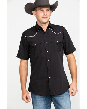 Ely Short Sleeve Black Western Shirt, Black, hi-res