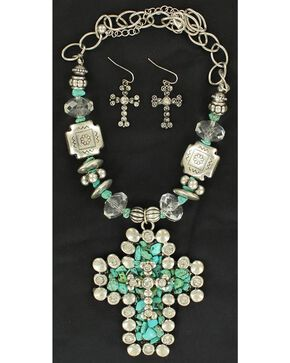 Blazin Roxx Faux Turquoise Cross Pendant Necklace & Earrings Set, Turquoise, hi-res