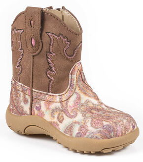 Roper Infant Girls' Pink Glitter Paisley Cowbabies Boots, Multi, hi-res