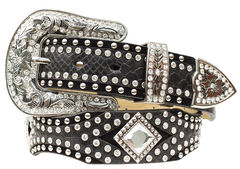 Nocona Diamond Concho Studded Suede & Smooth Leather Belt, , hi-res