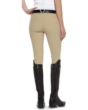 Ariat Women's Performer Low Rise Zip-Front Euro Seat Breeches, Tan, hi-res