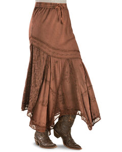 Scully Diagonal Embroidered Long Skirt, , hi-res