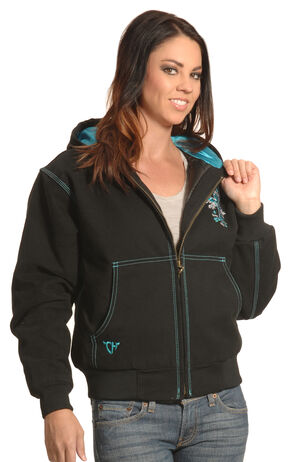 Cowgirl Hardware Women's Black Canvas Cross Jacket, Black, hi-res
