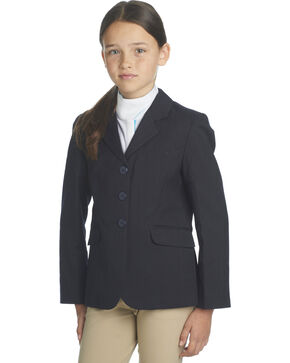 Ovation Girls' Navy Herringbone Sport Riding Jacket, Navy, hi-res