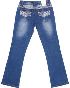 Shyanne Girls' Embroidered Bootcut Jeans, Dark Blue, hi-res