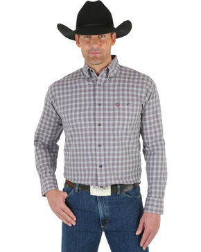 Wrangler George Strait Men's White Wine Plaid Shirt, Wine, hi-res