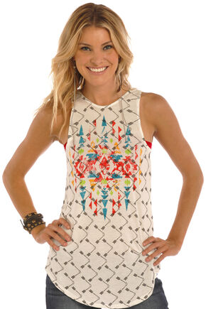 Rock & Roll Cowgirl Women's Natural Arrow and Aztec Print Tank, Natural, hi-res