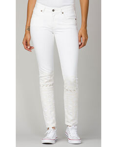 MM Vintage Women's White Gold Embroidered Jeans - Skinny, , hi-res