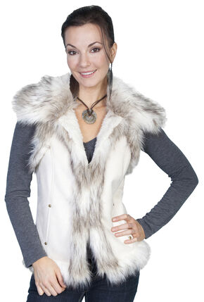 Scully Faux Fur Shoulder & Trim Vest, Off White, hi-res
