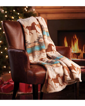 BB Ranch Aztec Horse Patterned Fleece Throw , Ivory, hi-res
