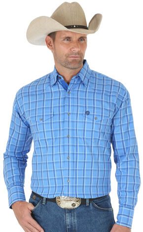 Wrangler George Strait Troubadour Blue Plaid Western Shirt - Big & Tall , Blue, hi-res