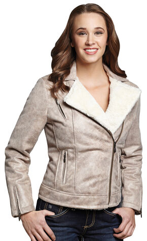 Cripple Creek Snakeskin Faux Shearling and Leather Jacket, Beige, hi-res