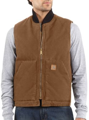 Carhartt Sandstone Work Vest - Big & Tall, Brown, hi-res