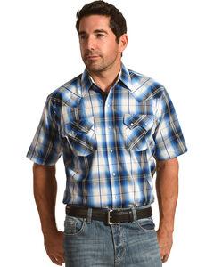 Ely Cattleman Men's Ombre Sawtooth Shirt , Blue, hi-res