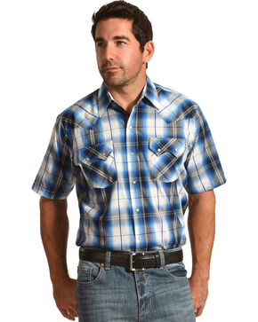 Ely Cattleman Men's Ombre Sawtooth Shirt , Blue, hi-res