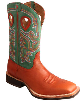 Twisted X Neon Green Horseman Cowboy Boots - Square Toe , Cognac, hi-res