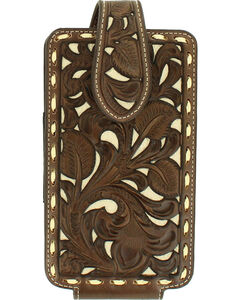 Nocona Floral Pierced Laced Edge Large Cell Phone Case Holder , , hi-res