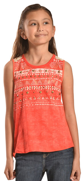 Miss Me Girls' Split Back Crochet Top, Red, hi-res