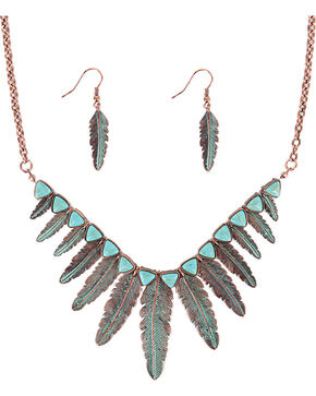 Shyanne Women's Turquoise Feather Jewelry Set, Turquoise, hi-res