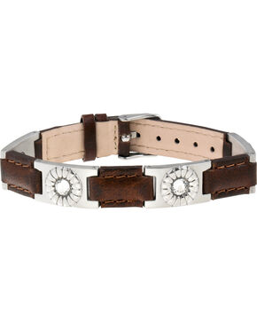 Sabona of London Brown Leather Gem Stainless Magnetic Bracelet, Brown, hi-res