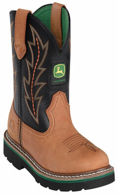 John Deere Boys' Johnny Popper Tuff Tred Western Boots - Round Toe, , hi-res