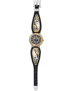 Montana Silversmiths Fancy Scroll Black Leather Band Watch, Multi, hi-res