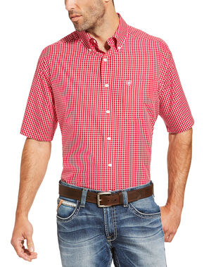 Ariat Men's Red Irving Short Sleeve Shirt , Red, hi-res