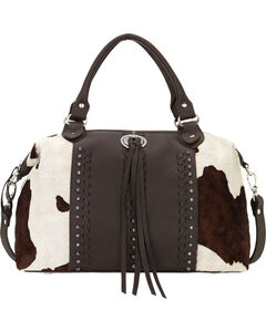 American West Cowhide Cow Town Large Convertible Zip Top Satchel , , hi-res