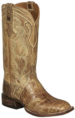 Lucchese Tan Giant Gator Vince Cowboy Boots - Square Toe , , hi-res