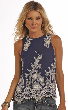 Panhandle Slim Women's Navy Crinkle Red Label Clubwear Tank, Navy, hi-res