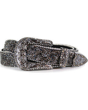 Shyanne Women's Crystal Studded Belt, Black, hi-res