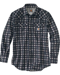 Carhartt Men's Plaid Grey Flame-Resistant Snap-Front Shirt - Tall , Grey, hi-res