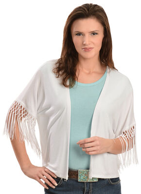 Red Ranch Women's Spanish Fringe Cardigan, White, hi-res