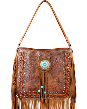 Montana West Trinity Ranch Collection Tooled Fringe Shoulder Bag, Brown, hi-res