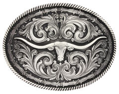 Montana Silversmiths Barbed Wire Longhorn Classic Impressions Attitude Belt Buckle, , hi-res