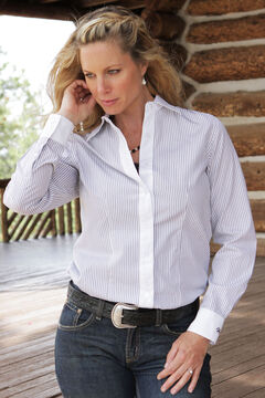 Miller Ranch Women's Black & White Stripe Dress Shirt, , hi-res