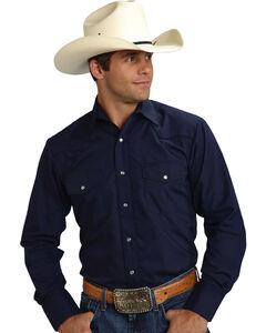Roper Men's Solid Navy Embroidered Western Shirt, , hi-res