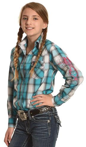 Cowboy Hardware Girls' Turquoise Hombre Plaid Shirt , Multi, hi-res