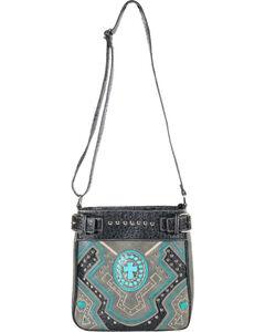 Savana Women's Steel Concho Cross Messenger Bag, Steel, hi-res