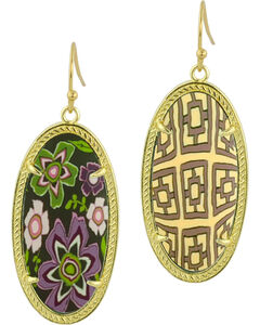 Jilzarah Prairie Gold Frame Earrings, , hi-res