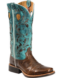 Twisted X Ruff Stock Turquoise Embroidered Cowgirl Boots - Square Toe, , hi-res