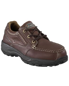 Rockport Works Extreme Light Casual 3-Eye Oxford Work Shoes - Composition Toe, Brown, hi-res