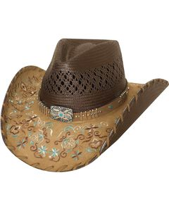 Bullhide Never Give Up Shantung Straw Cowgirl Hat, , hi-res